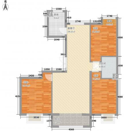 保利香槟湾3室1厅1卫1厨118.00㎡户型图