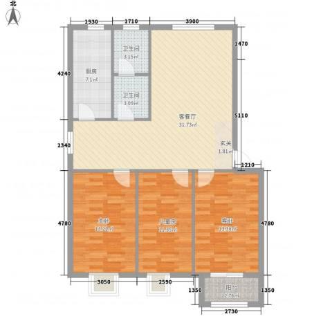 盛景华庭3室1厅2卫1厨116.00㎡户型图
