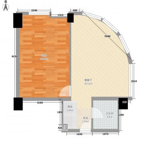 东方云顶1室1厅1卫0厨76.00㎡户型图