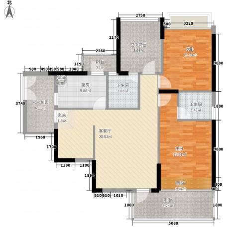 三远大爱城2室1厅2卫1厨93.98㎡户型图