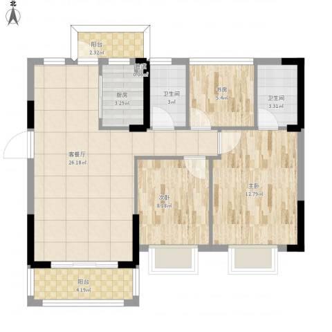 东逸湾花园3室1厅2卫1厨98.00㎡户型图