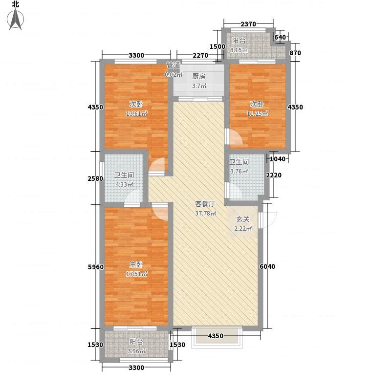 慧昌海山湖132.18㎡A户型3室2厅2卫1厨
