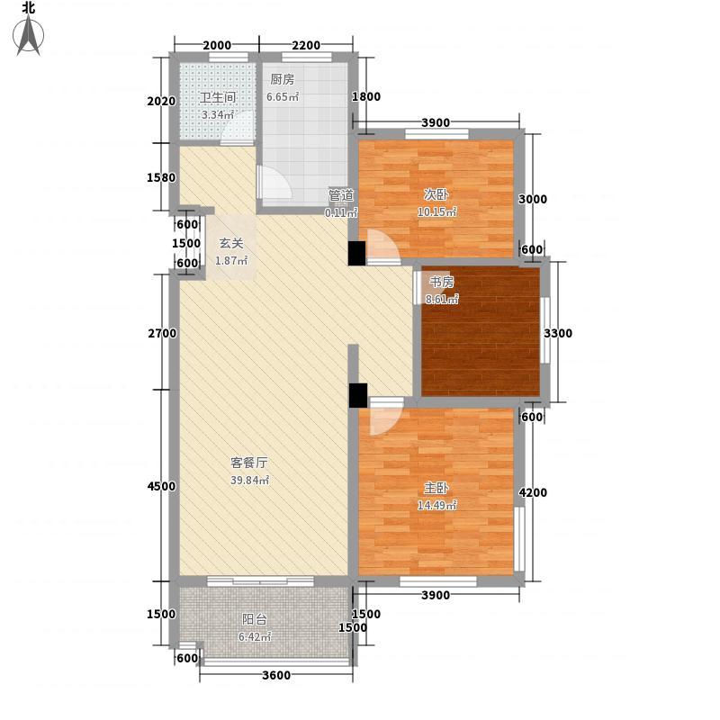 岸上玫瑰115.00㎡岸上玫瑰户型图M型3室2厅1卫户型3室2厅1卫
