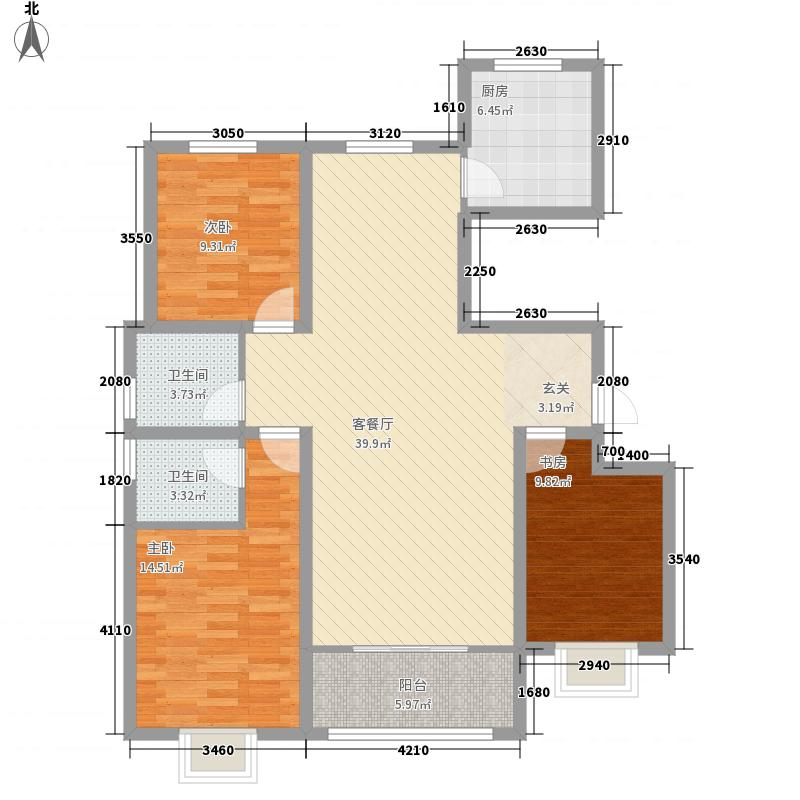 水岸人家132.00㎡1-6#、8#D户型3室2厅2卫1厨