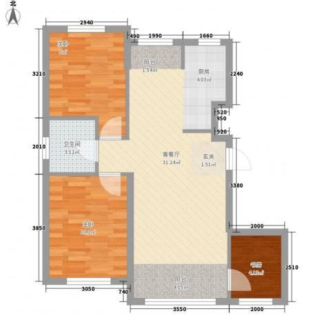 青国青城3室1厅1卫0厨81.00㎡户型图
