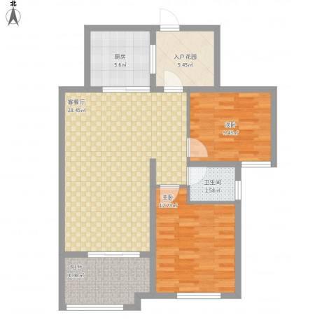 华苑小区2室1厅1卫1厨101.00㎡户型图