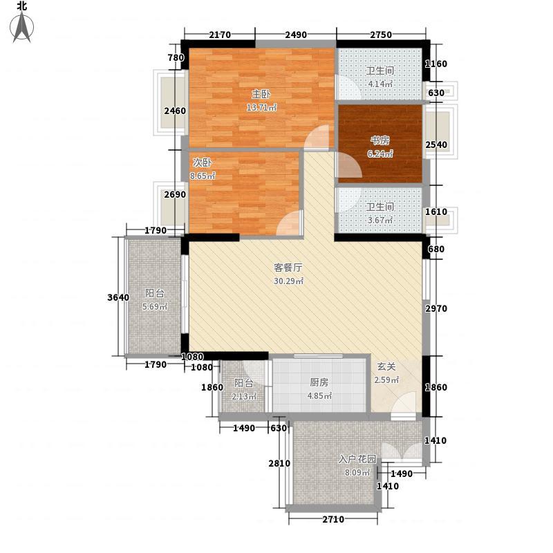 越秀滨海御城124.00㎡8栋02单元户型3室2厅2卫1厨