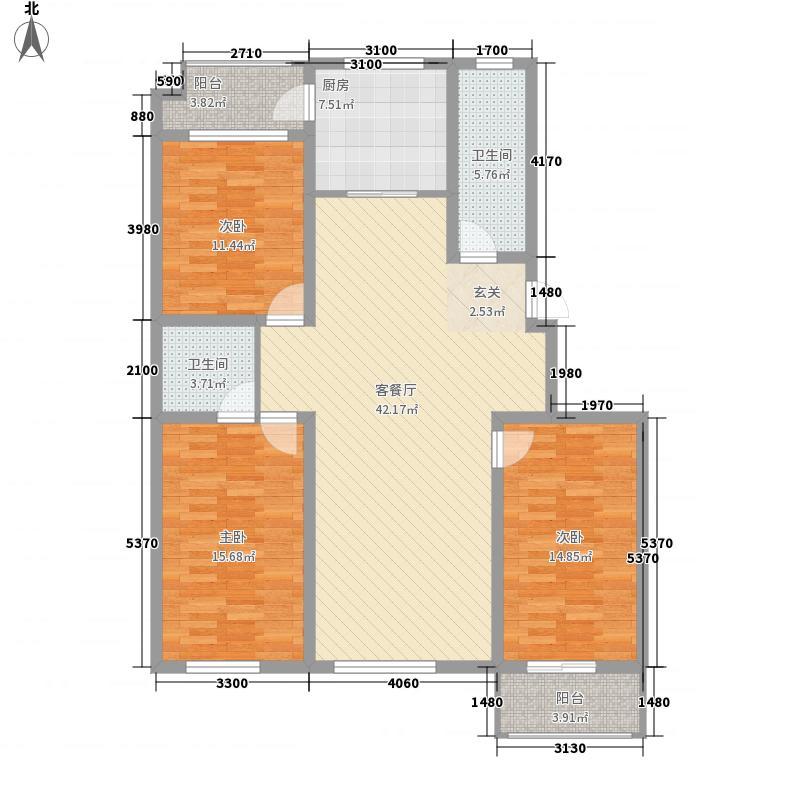 华安锦绣樱园154.00㎡二期多层住宅标准层F户型3室2厅2卫1厨