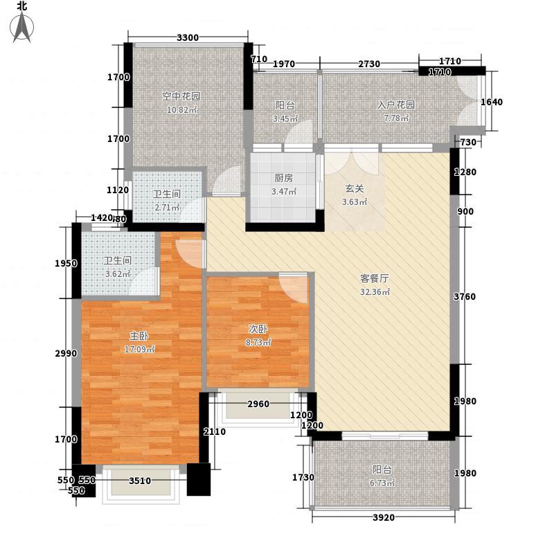 三远大爱城2室1厅2卫1厨96.76㎡户型图