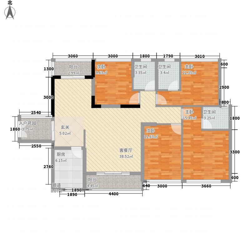龙南中央城142.74㎡B户型4室2厅3卫1厨