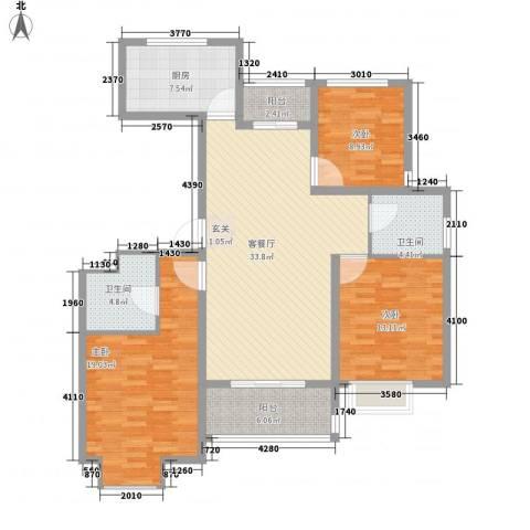 东江丽景3室1厅2卫1厨142.00㎡户型图