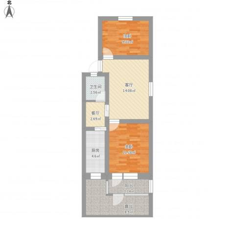 罗汉巷2室2厅1卫1厨87.00㎡户型图