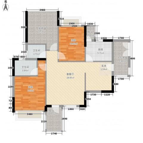 三远大爱城2室1厅2卫1厨88.00㎡户型图