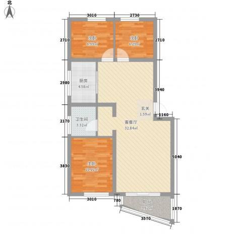 稻香新村3室1厅1卫1厨87.00㎡户型图