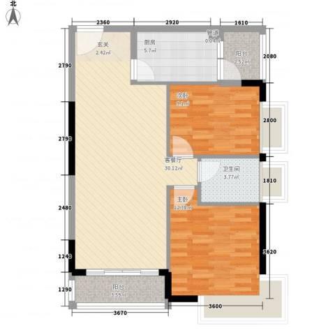 绿湖豪城2室1厅1卫1厨95.00㎡户型图