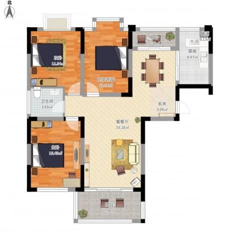 名邦西城秀里2室1厅1卫1厨129.00㎡户型图