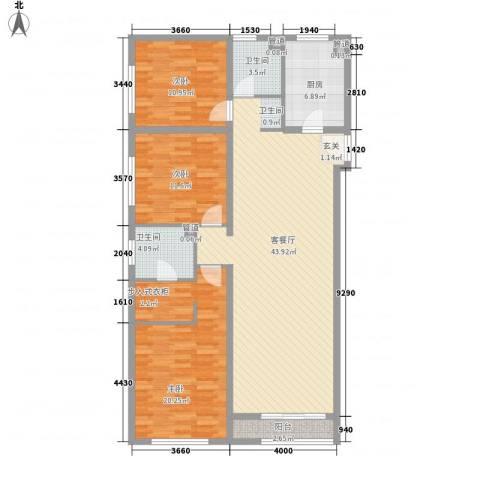万科城・明3室1厅2卫1厨147.00㎡户型图