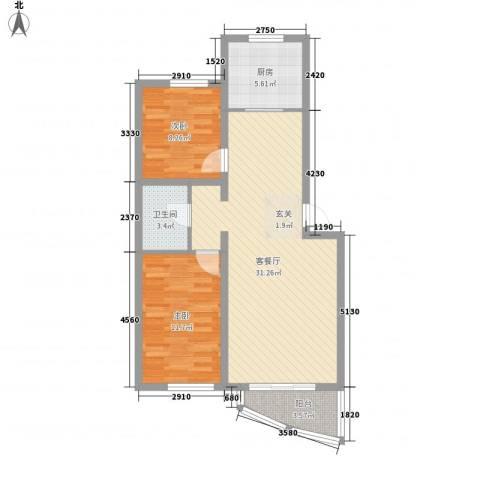 稻香新村2室1厅1卫1厨63.79㎡户型图