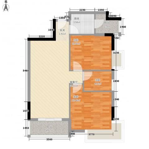 绿湖豪城3室1厅0卫1厨90.00㎡户型图