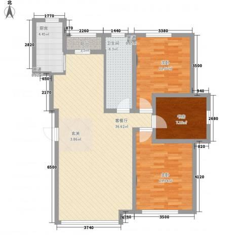 新华壹品3室1厅1卫1厨115.00㎡户型图