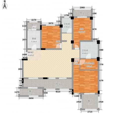城开国际学园3室1厅2卫1厨125.00㎡户型图