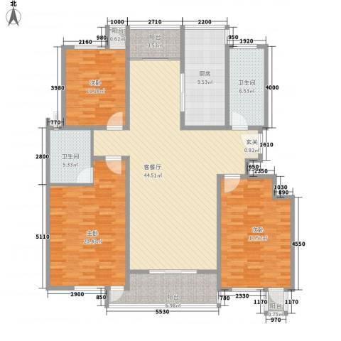 鸿城国际3室1厅2卫1厨141.00㎡户型图