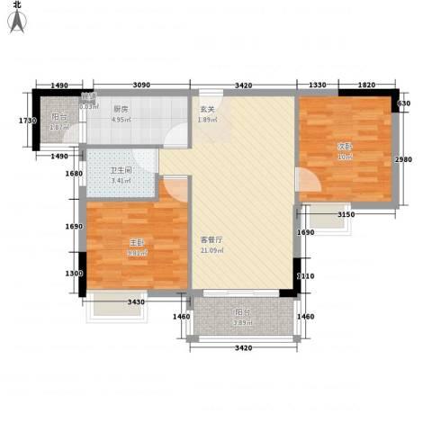 绿湖豪城2室1厅1卫1厨85.00㎡户型图