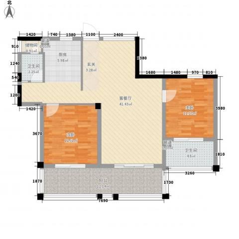 年轮2室1厅2卫0厨109.00㎡户型图