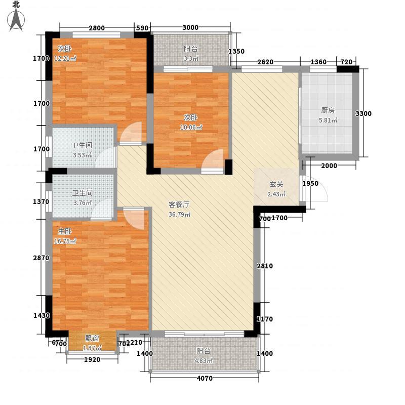 金利来广场134.68㎡C1户型3室2厅2卫1厨