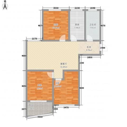 新富专家公寓3室1厅1卫1厨127.00㎡户型图