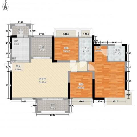 嘉宏公园1号3室1厅2卫1厨91.70㎡户型图