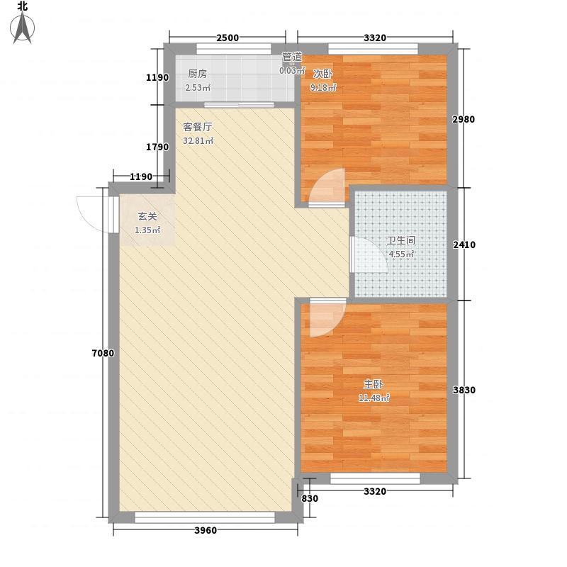 金汇豪庭2室1厅1卫1厨84.00㎡户型图