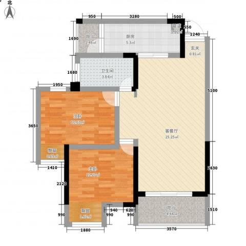 天安尚城2室1厅1卫1厨90.00㎡户型图