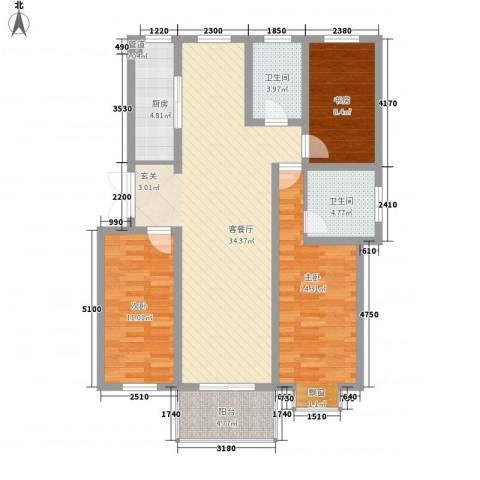 四季新城北苑3室1厅2卫1厨125.00㎡户型图