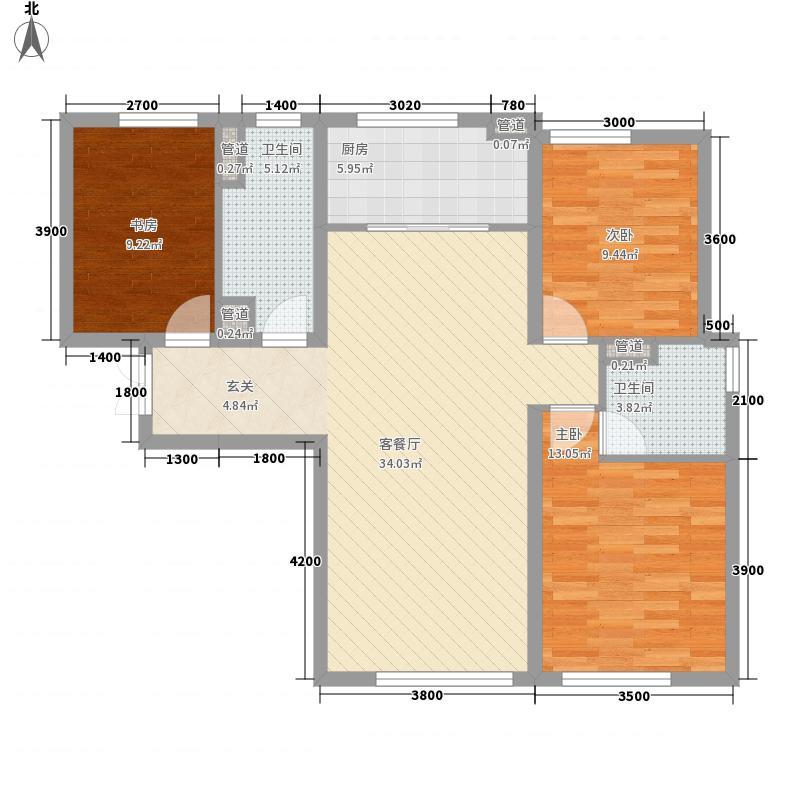 天津全运村121.00㎡一期高层标准层B户型3室2厅2卫