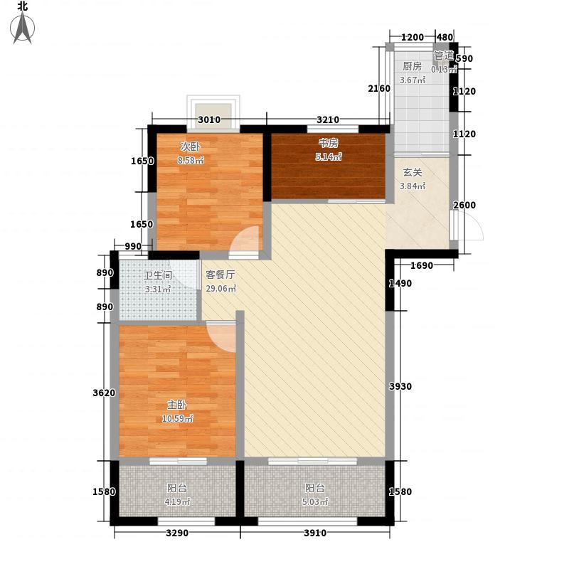龙湾1号3室1厅1卫1厨100.00㎡户型图