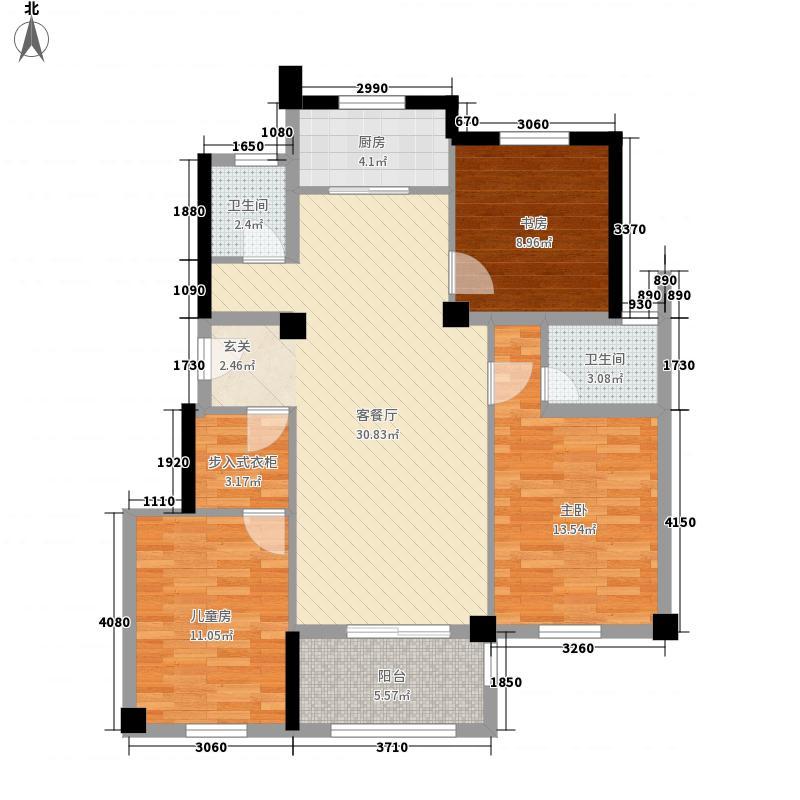 中国铁建山语城117.00㎡B1户型3室2厅1卫1厨