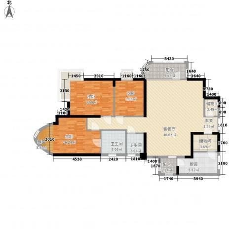莲花苑3室1厅2卫1厨160.00㎡户型图