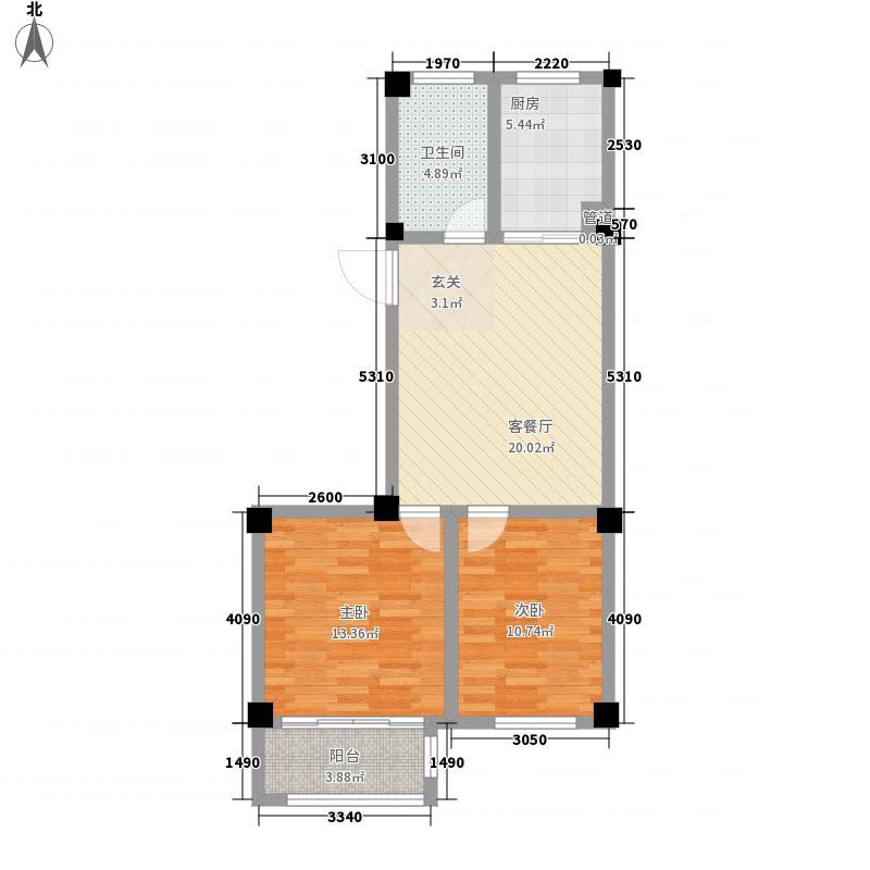 君悦美地85.00㎡一期多层C户型2室2厅1卫1厨