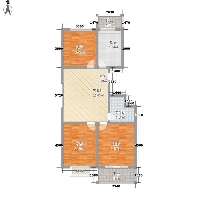 紫阳湾128.83㎡3#户型3室1厅1卫1厨