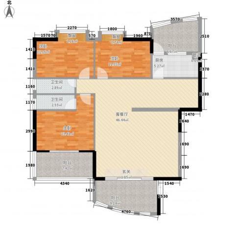 富贵门花园3室1厅2卫1厨163.00㎡户型图