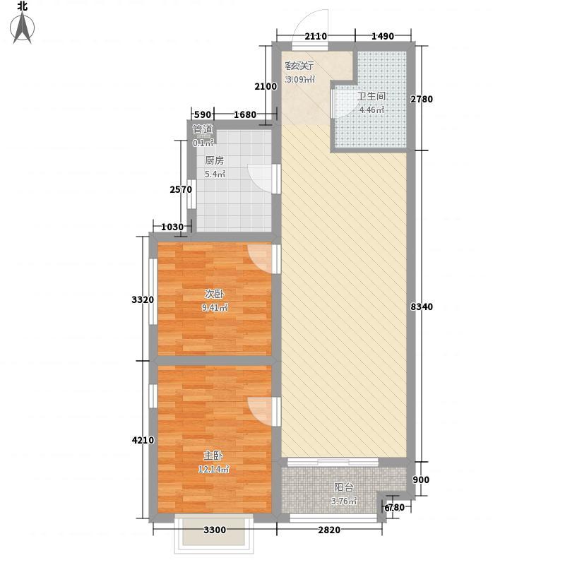 龙御湾4.00㎡E3户型2室2厅1卫1厨