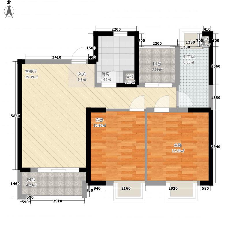 华润中心万象城2室1厅1卫1厨66.68㎡户型图