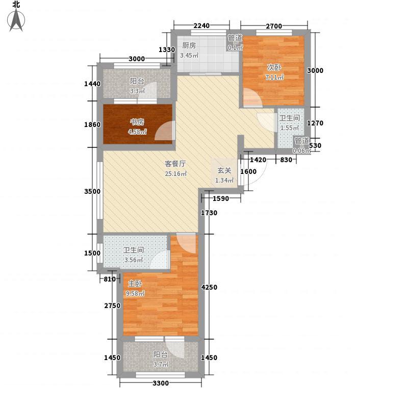 家豪圣托里尼2#楼F1户型3室2厅2卫1厨