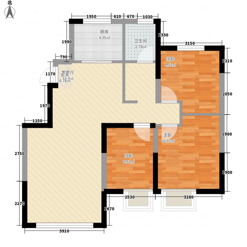 保利金融街诺丁山3室1厅1卫1厨94.00㎡户型图