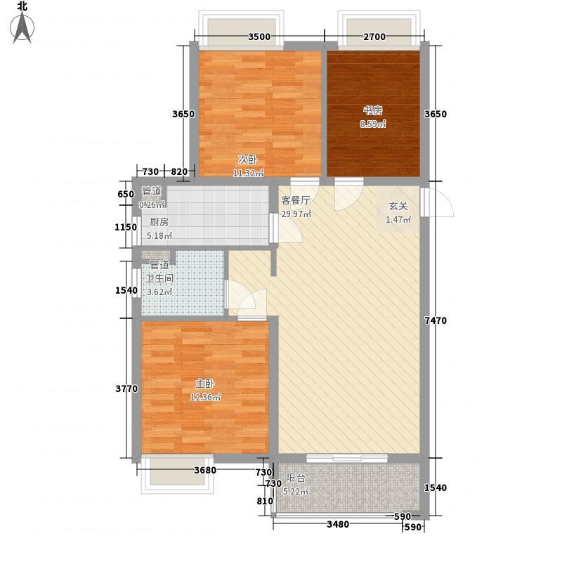 华润中心万象城3室1厅1卫1厨76.72㎡户型图