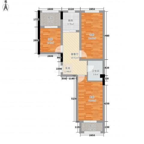 阳光嘉年华3室1厅1卫1厨78.00㎡户型图