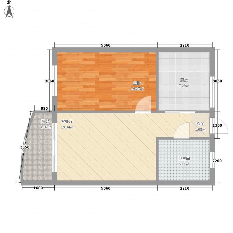晋唐海湾66.12㎡1#楼H户型1室2厅1卫1厨