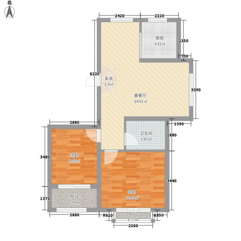 裕昌九州国际82.00㎡F1户型2室2厅1卫1厨
