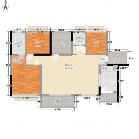佳兆业东江豪门3室1厅2卫1厨144.00㎡户型图